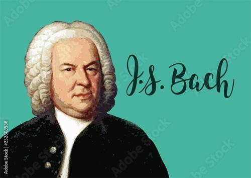 Great composers - Johann Sebastian Bach portrait with vector signature Wallpaper Mural