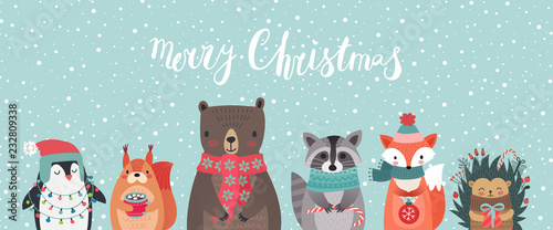 Photo sur Toile Noël Christmas card with animals, hand drawn style.
