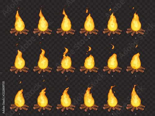 Valokuvatapetti Burning bonfire animation