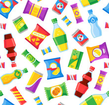 Snacks And Drinks Seamless Pattern. Fast Food Snacking Bags And Soda Bottles. Vending Machine Products Vector Wrapper