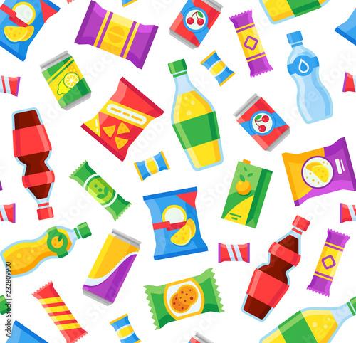 Obraz na plátne Snacks and drinks seamless pattern