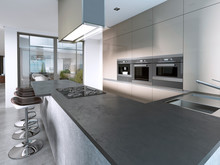 Contemporary Kitchen With Larg...