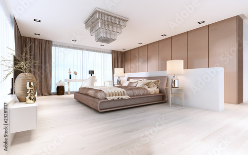 Luxurious modern master bedroom in light colors in pastel ...