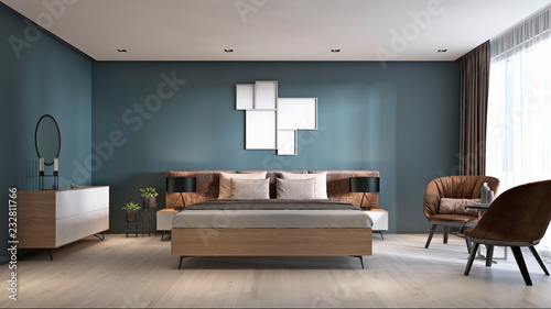 Contemporary Bedroom With Dark Blue Walls And Light Furniture And Two Brown Chairs Buy This Stock Illustration And Explore Similar Illustrations At Adobe Stock Adobe Stock