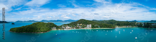 Fotobehang Luchtfoto Aerial view drone shot of panorama phuket island beautiful island in thailand.