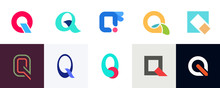 Set Of Letter Q Logo. Icon Design. Template Elements - Collection Of Vector Sign