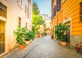 Fototapeta Uliczki - typical narrow italian street in Trastevere with green plants and stone pavement, Rome, Italy, retro toned