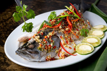 Favourite Seafood Of Thailand, Steamed White Snapper With Lemon Sauce.