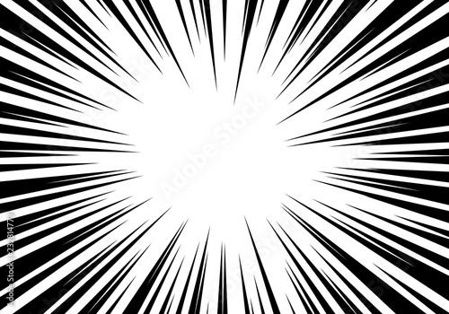 Radial zoom speed line black on white for comic background vector illustration Fotobehang