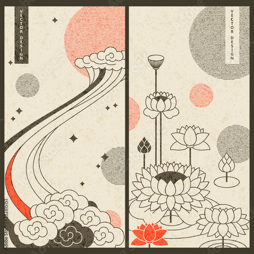Fotografie, Obraz pastel japanese traditional set with two vector cards