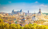 view of skyline of Rome city at day, Italy, retro toned