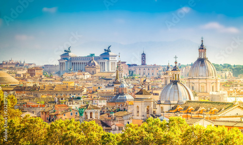 view of skyline of Rome city at day, Italy, retro toned Wallpaper Mural