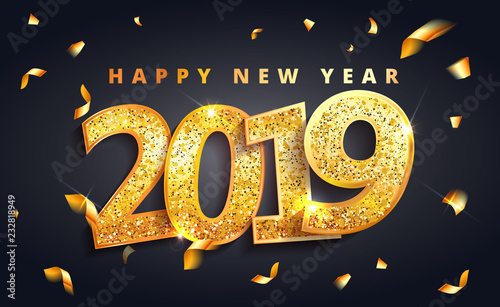 2019 happy new year lettering luxury premium black template with golden christmas ball in sparkling background