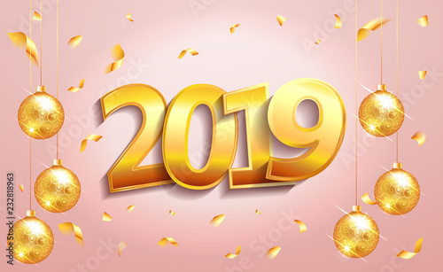 2019 happy new year lettering luxury premium text template with golden confetti and christmas ball in