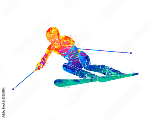 obraz dibond Abstract skiing. Descent giant slalom skier from splash of watercolors. Winter sports