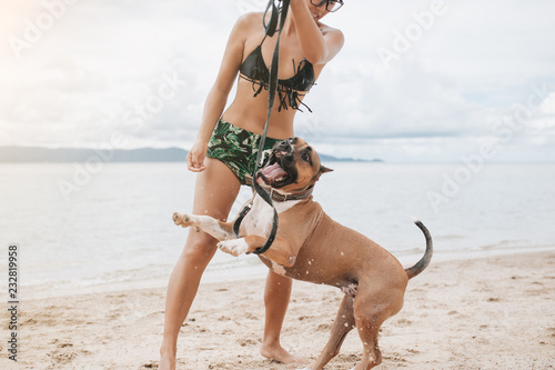 Fototapeta Cheerful asian young woman in eyeglases playing with her dog on the beach obraz na płótnie
