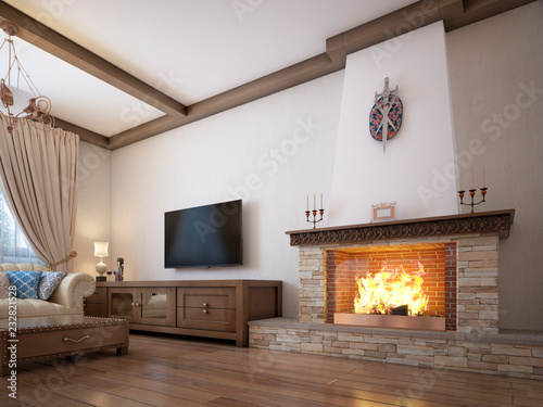 Leinwand Poster Living room in a rustic style with soft furniture and a large fireplace with classic elements