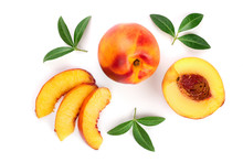 Ripe Nectarine With Leaves Iso...