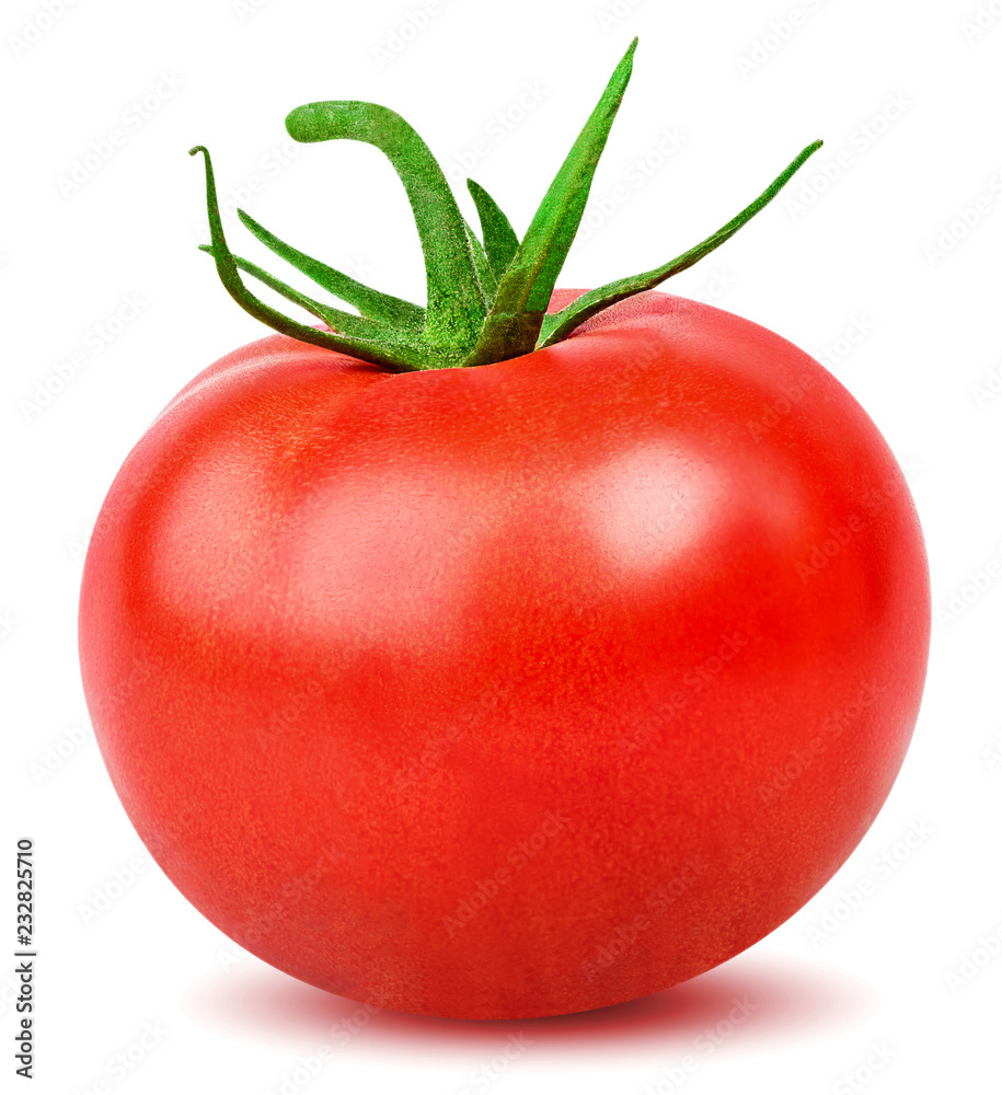 Fototapety, obrazy: Isolated tomato. One whole tomato isolated on white background with clipping path