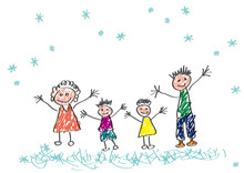 Vector Drawing Made By A Child, Happy Family In Winter, On Holiday Under A Snowfall.