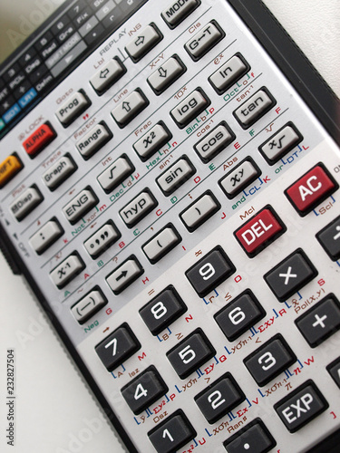 close up of scientif electronic calculator keyboard - 232827504