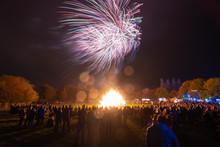 Fireworks Display At Bonfire Night. Guy Fawkes Night. Bokeh Effect.