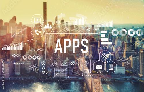 Photo Apps with the New York City skyline near midtown