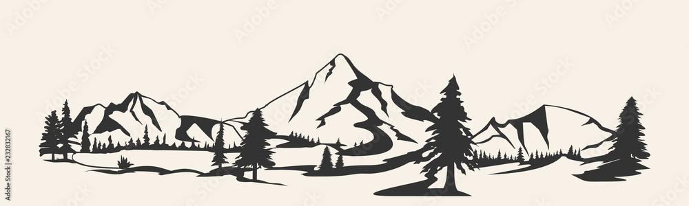 Fototapety, obrazy: Mountains .Mountain range silhouette isolated. Mountain  illustration