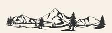 Mountains .Mountain Range Silhouette Isolated. Mountain  Illustration