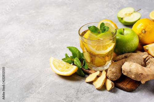 Fototapeta ginger detox and diet drink with lemon and apple