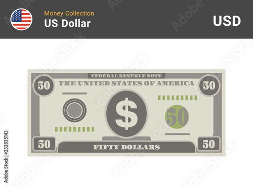50 Us Dollar Bill American Money Banknote Currency Vector Set