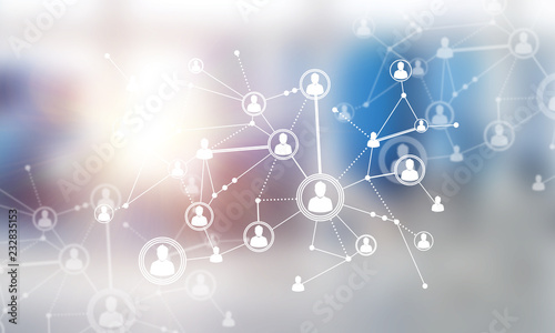 Photo  Concept of networking and connection against modern office blurred background