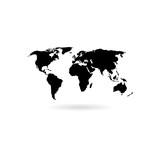 Black Blank world map icon or logo