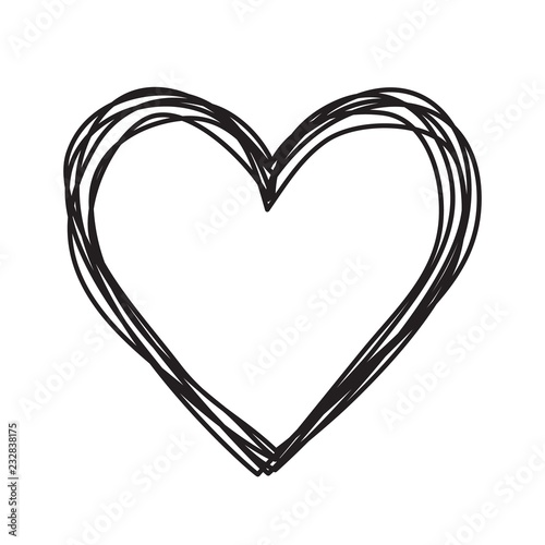 Photo  Heart shaped tangled grungy scribble