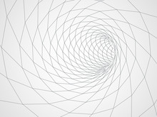 Digital 3d Wireframe Tunnel. Vector Abstract Background.