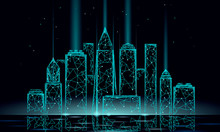 Smart City 3D Polygonal Wire Mesh. Intelligent Building Automation System Business Concept. Water Reflection Texture Light. Architecture Urban Cityscape Technology Sketch Banner Vector Illustration