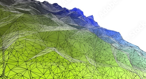 Polygonal surface 3d illustration