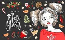 Happy New Year And Merry Christmas Greeting Card.  Romantic Girl With Winter Elements. Vector Illustration