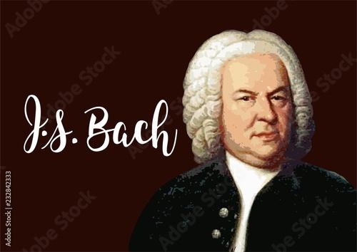 Johann Sebastian Bach - portrait of great composer with vector signature Wallpaper Mural