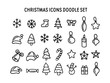 Sketchy vector hand drawn Doodle cartoon set of objects and symbols on the Merry Christmas theme. Cute vector icons sweater, hat, snowflakes, gift, snowman, socks, lantern, tea, book.