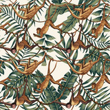 Monkeys on creepers on the tropical leaves background - 232843117