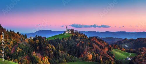 Church of Saint Leonard stands on the Church Hill near the Crni Vrh village Canvas Print