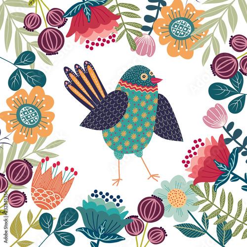 Fotografija  Art vector colorful illustration with beautiful abstract folk bird and flowers