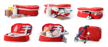 Set With First Aid Kits On Whi...