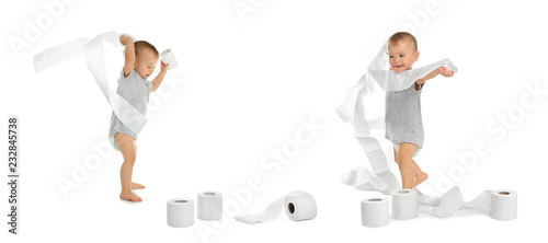 Set with cute little boy and toilet paper on white background Canvas Print