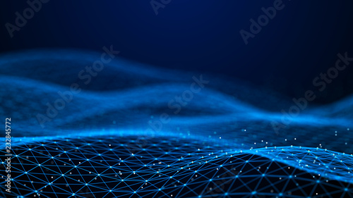 Abstract 3d rendering dots and lines Wallpaper Mural