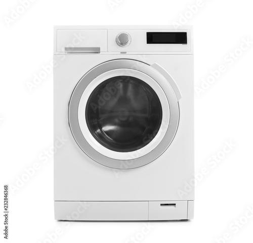 Obraz Modern washing machine on white background. Laundry day - fototapety do salonu