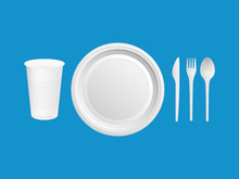 Disposable Plastic Dishes. Glass, Knife, Fork, Spoon On A Blue Background. Vector Illustration.