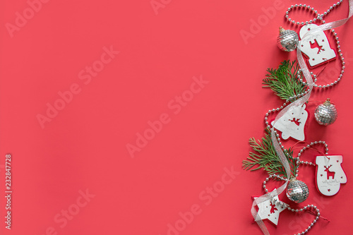 Christmas Composition Mockup On Red Background Christmas White And