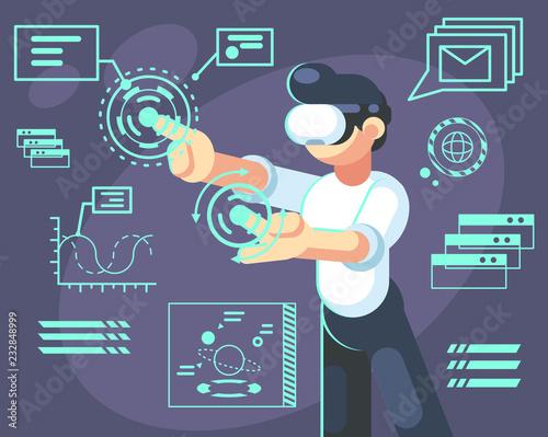 Photo  Man in helmet of virtual reality